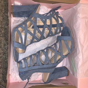 CharlotteRusse blue suede high heels size 7
